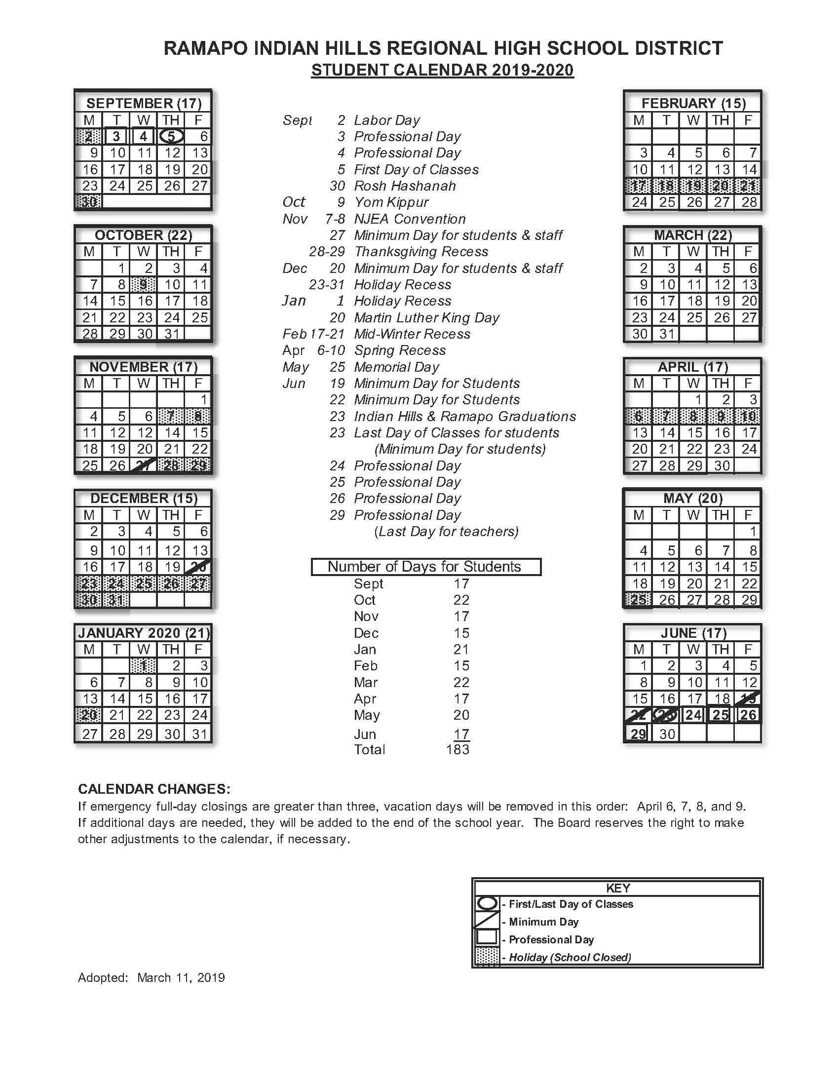 2019 2020 Student Calendar - Rihrhsd Regarding Nassau Community College Spring 2020 Student Calendar