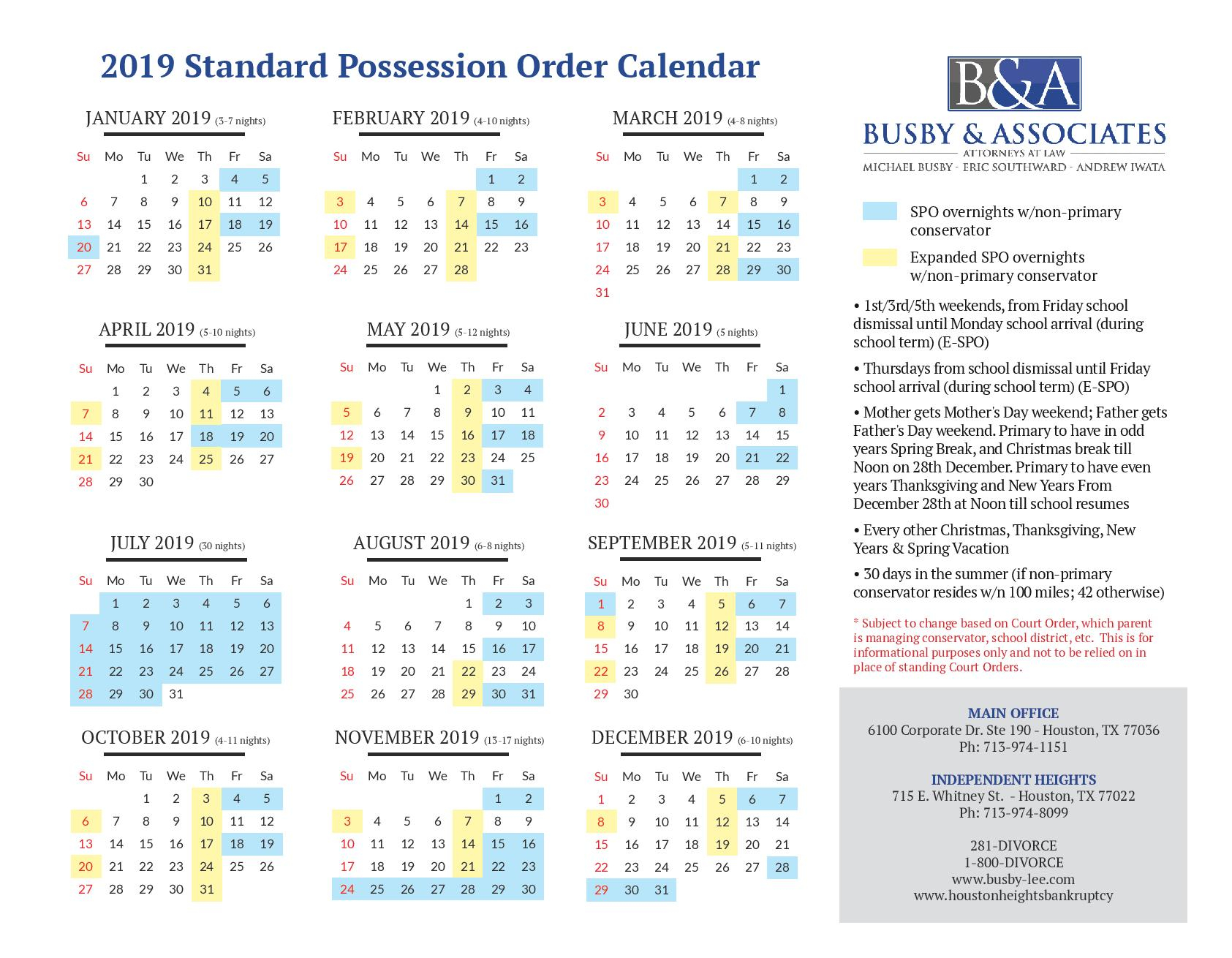 2019 Standard Possession Order & Parenting Time   Family Law Pertaining To Attorney General Texas Calender