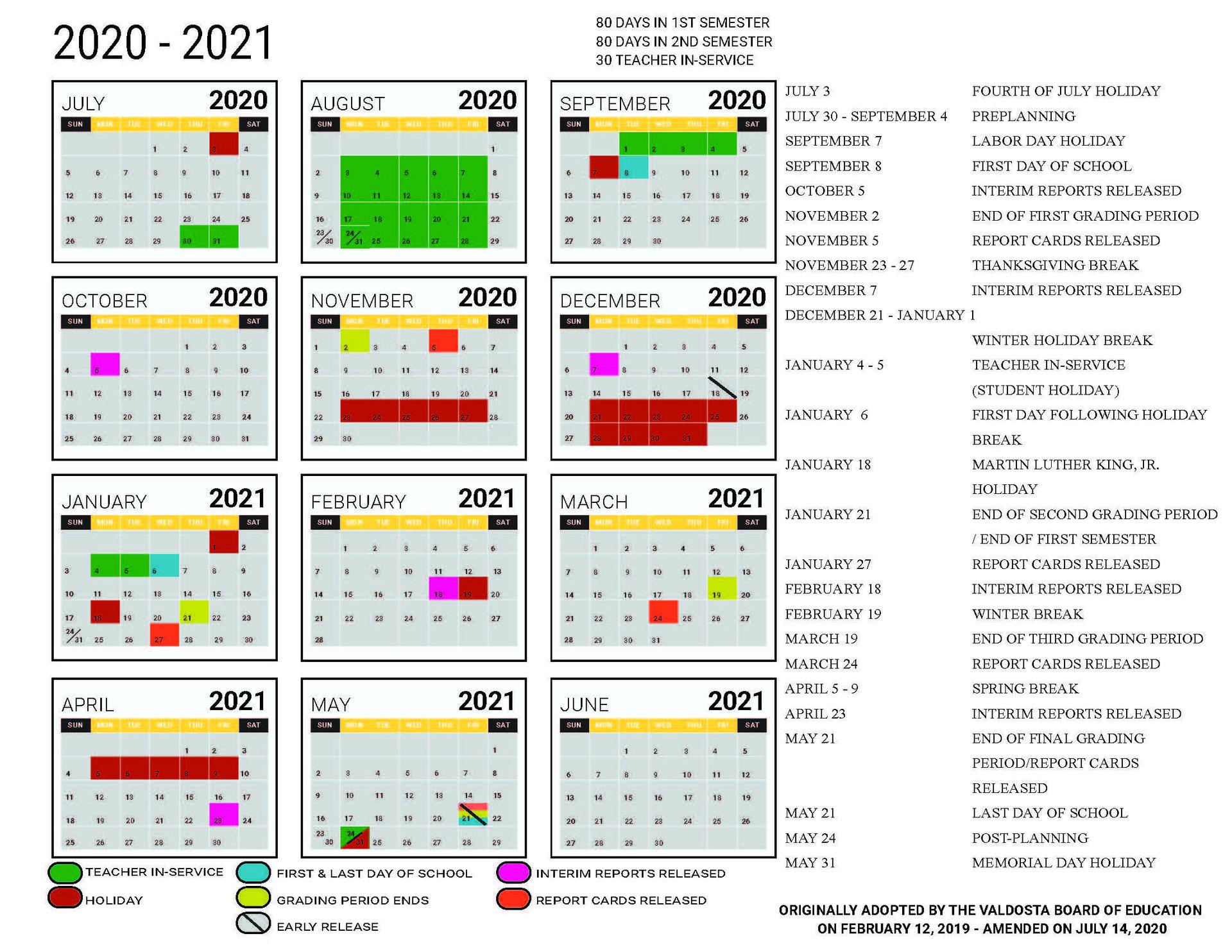 2020 - 2021 Academic Calendar – Student Support Services inside Georgia State Academic Calendar 2021 2020