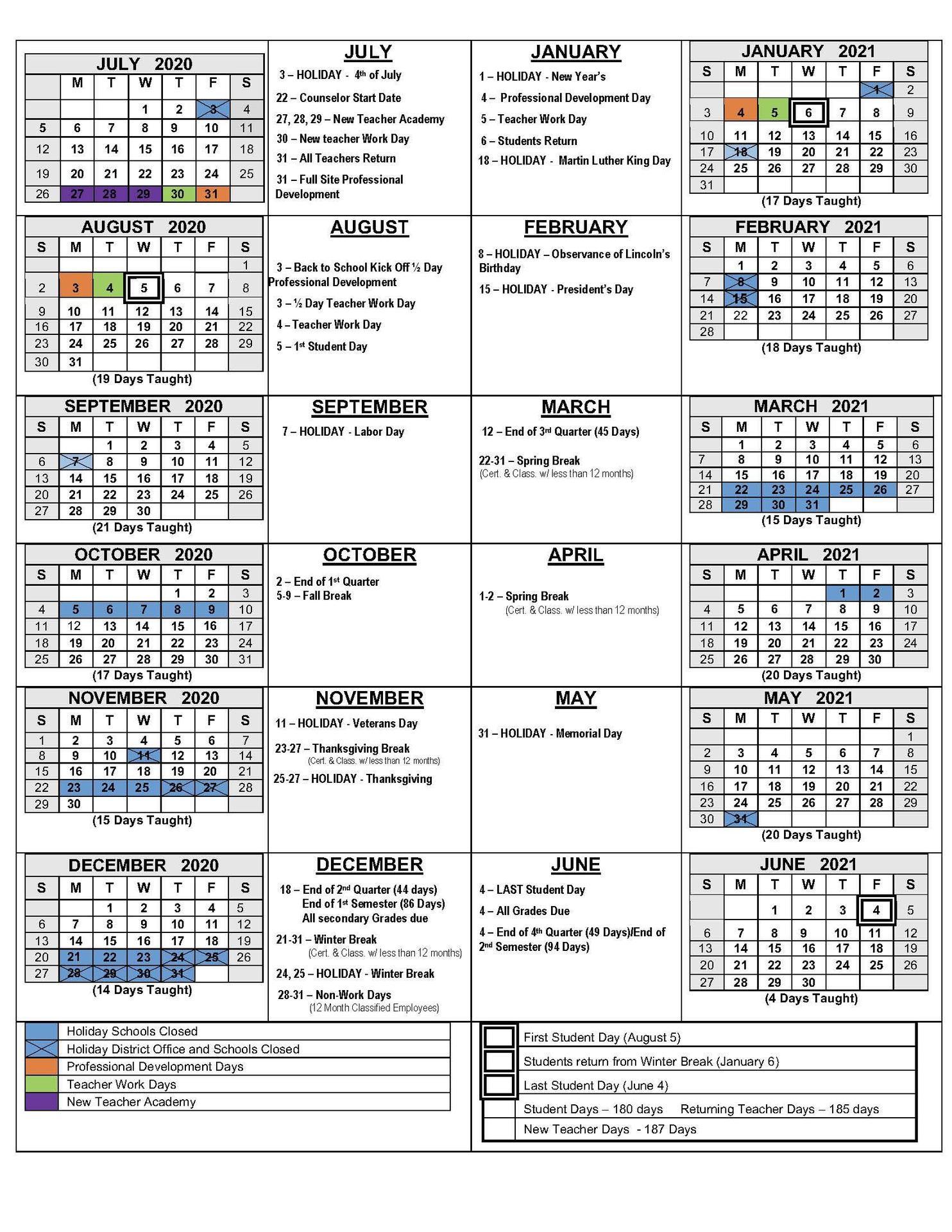 2020 21 School Calendars – Academic Calendars – Monterey Pertaining To Salinas Union High School District Calender
