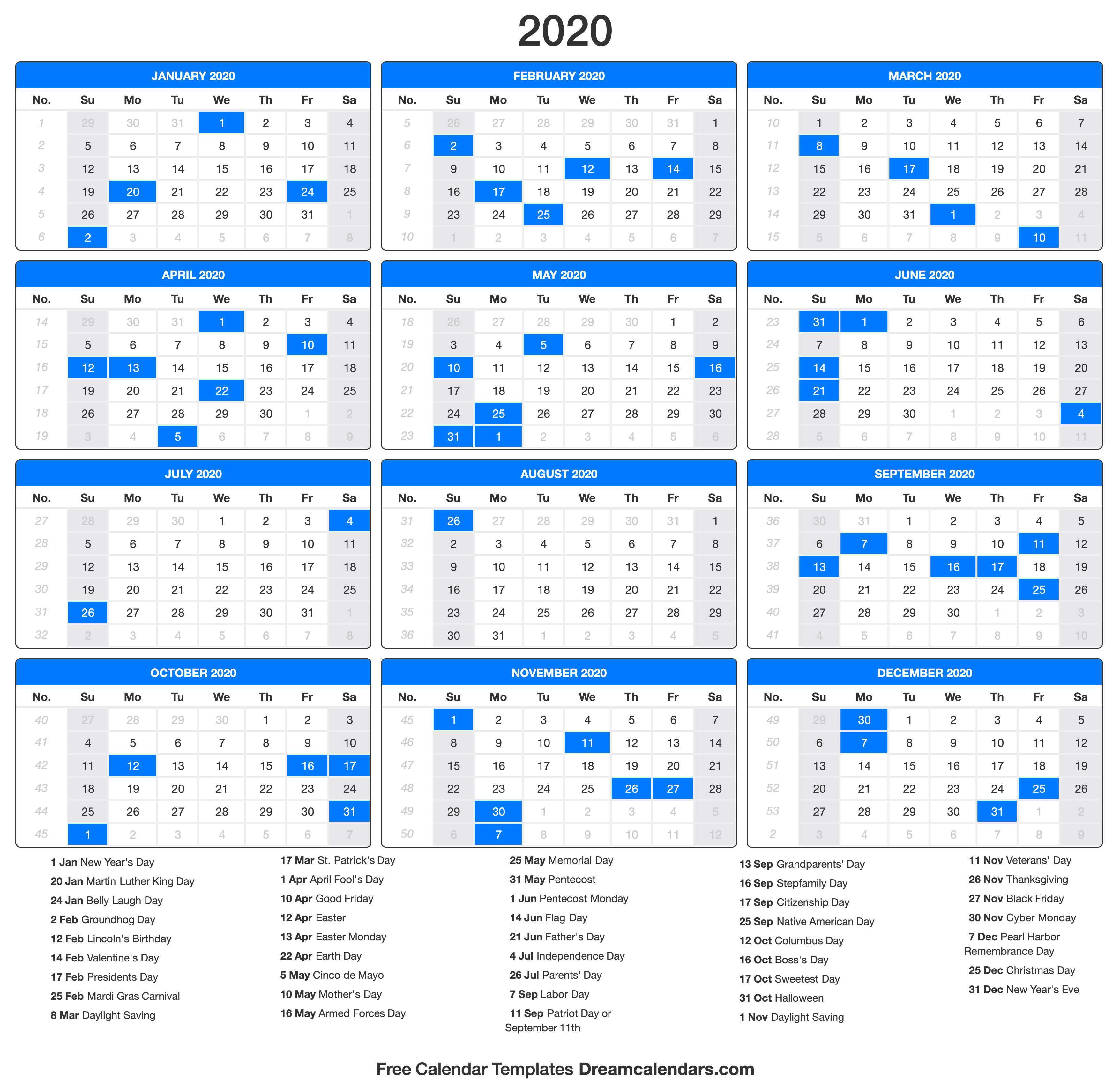 2020 Calendar With Printable Calender With Days O The Year