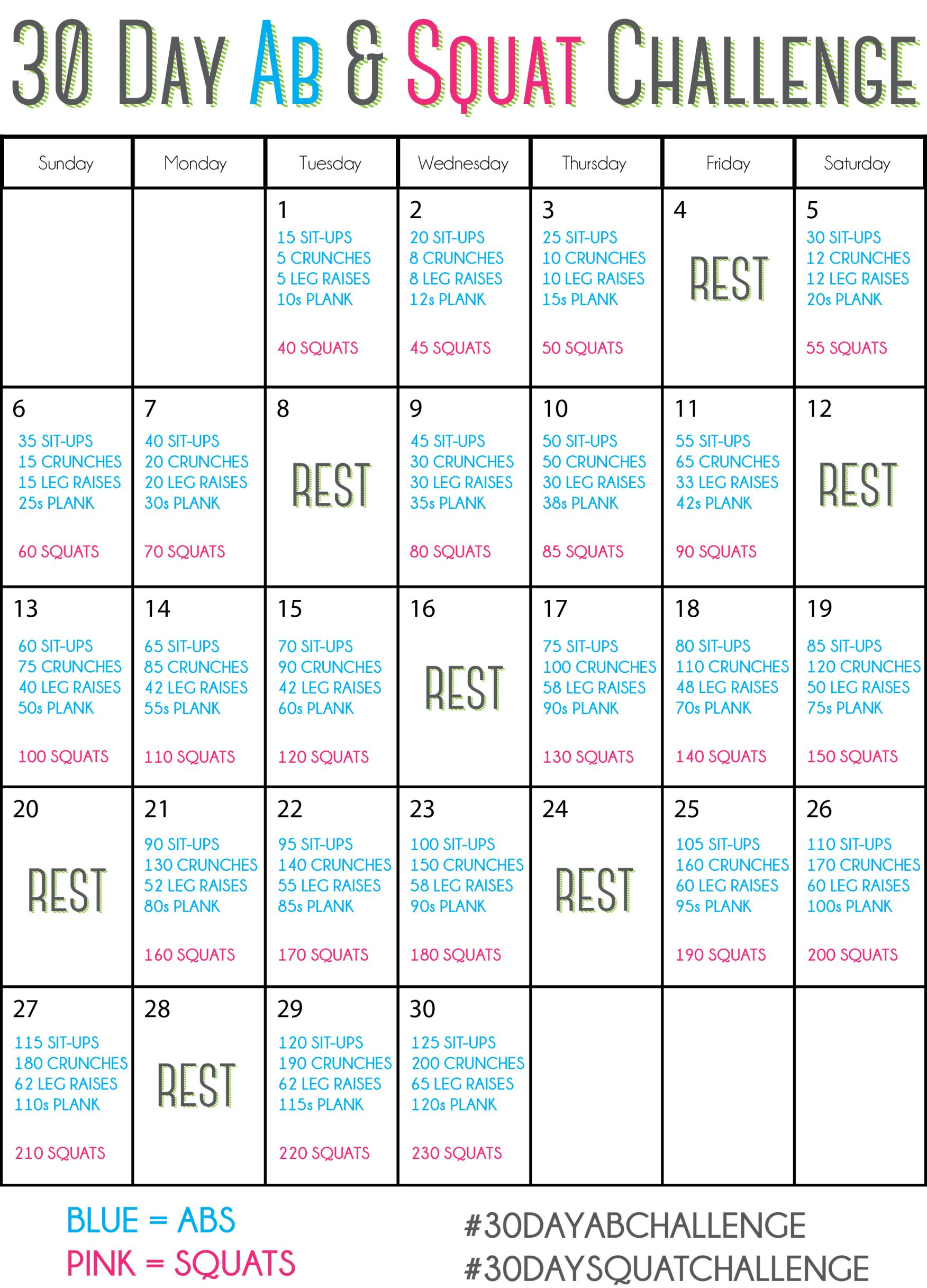 30 Day Ab Challenge, 30 Day Squat Challenge, 30 Day Fitness Inside 30 Day Ab Workout Schedule