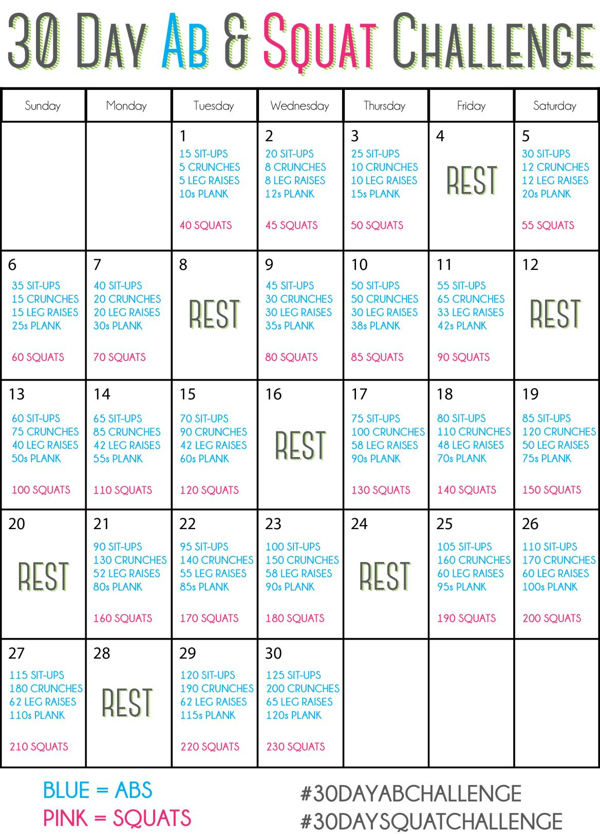 30 Day Ab Squat Challenge Chart - Trinity pertaining to 30 Day Sit Up And Squat Challenge Printable