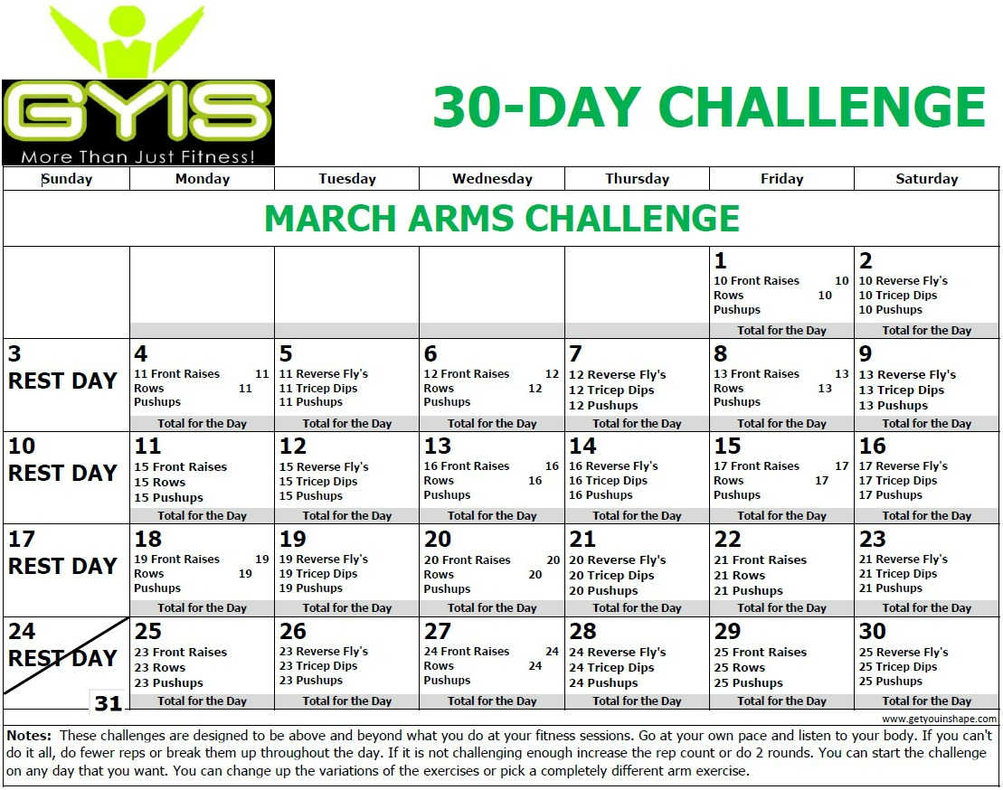 30 Day Arms Challenge Mar 19 – Throughout 30 Day Arm Challenge Pdf
