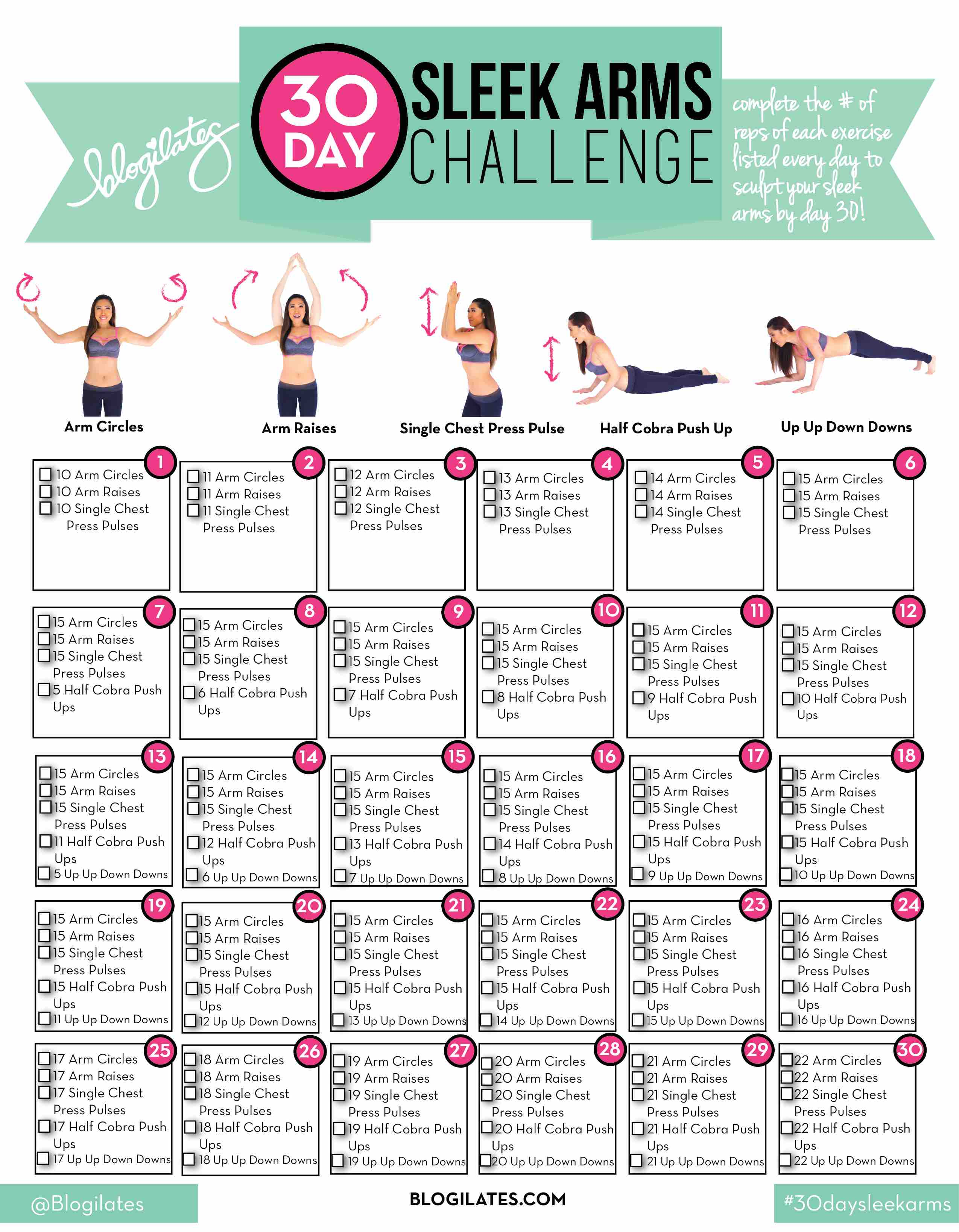 30 Day Sleek Arms Challenge – Blogilates for 30 Day Arm Challenge Pdf