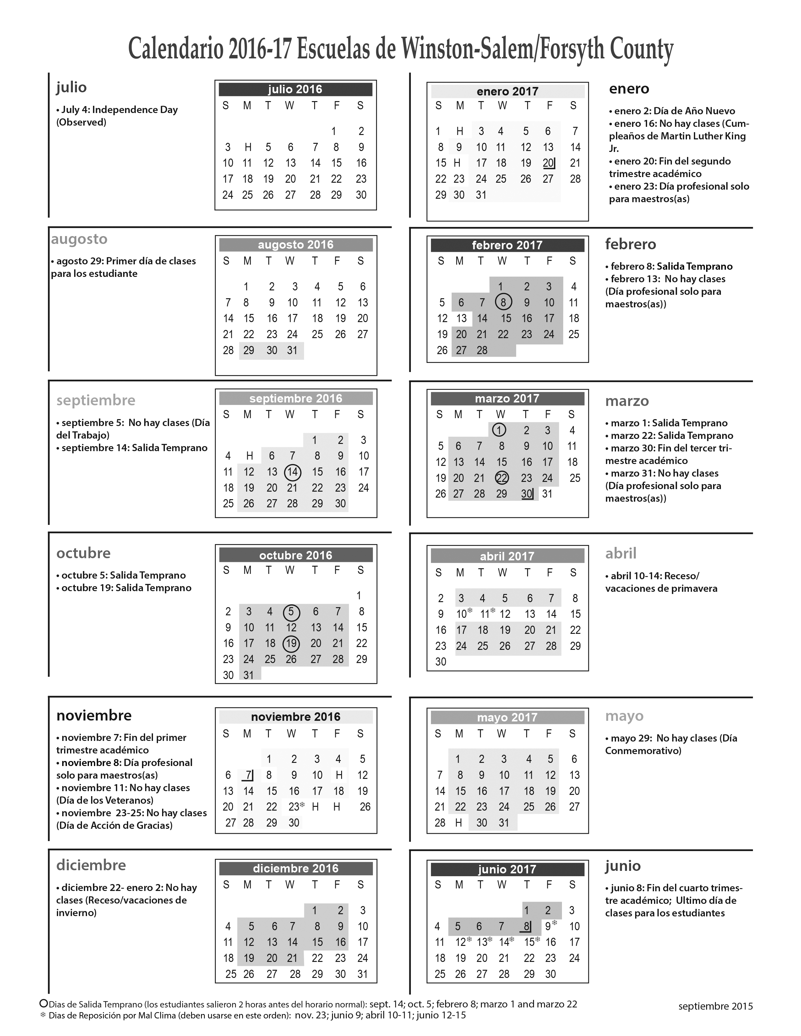About Us / School Information For Forysth Nc County School Calender
