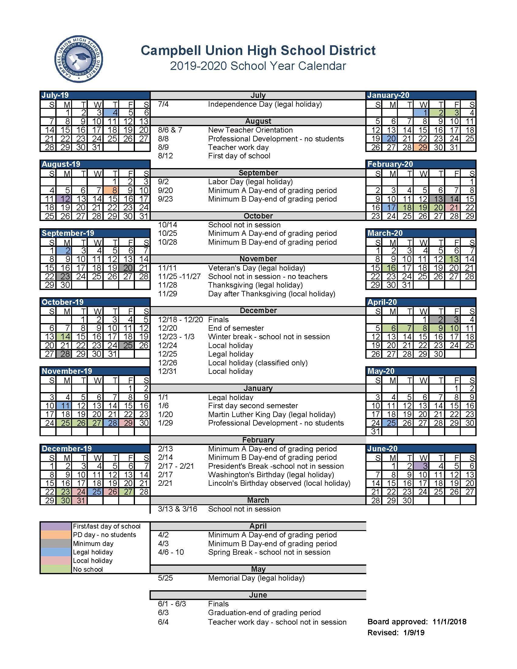 Academic Calendar – Academic Calendar – Camden Post In Salinas Union High School District Calender