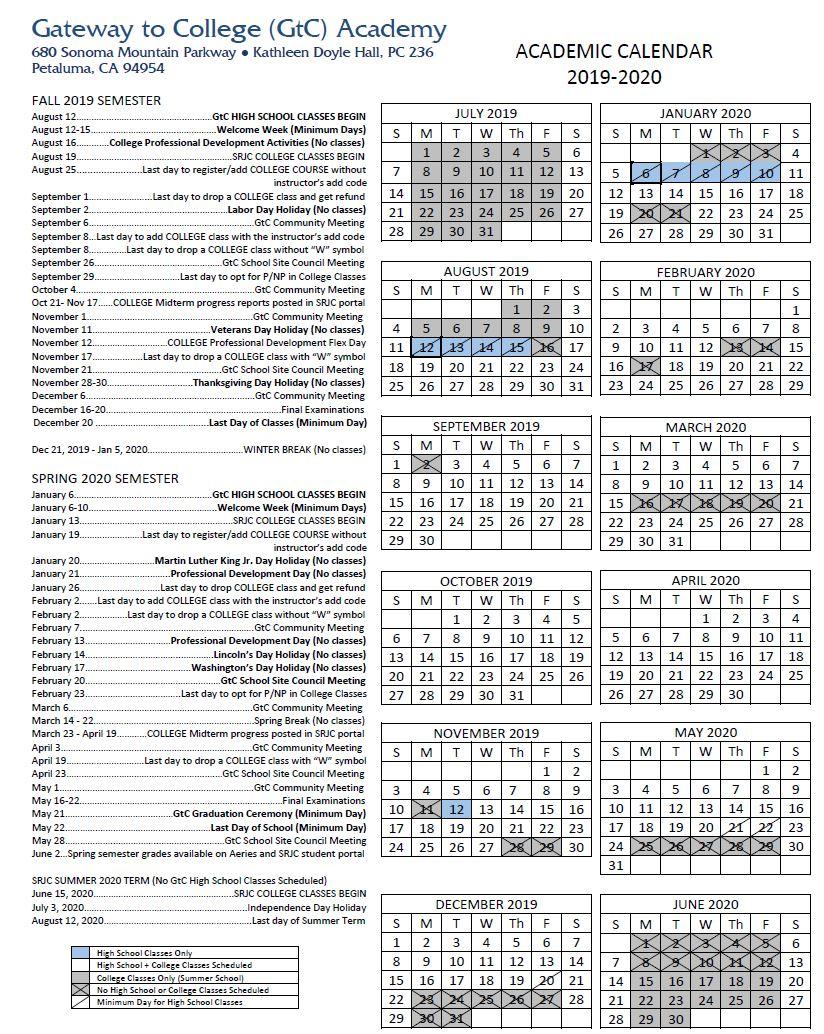 Academic Calendar   Gateway To College With Regard To San Leandro High School 2014 Calendar