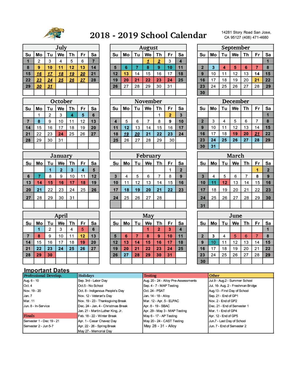 Academic Calendar - Miscellaneous - Roberto Cruz Leadership With Regard To San Leandro High School 2014 Calendar