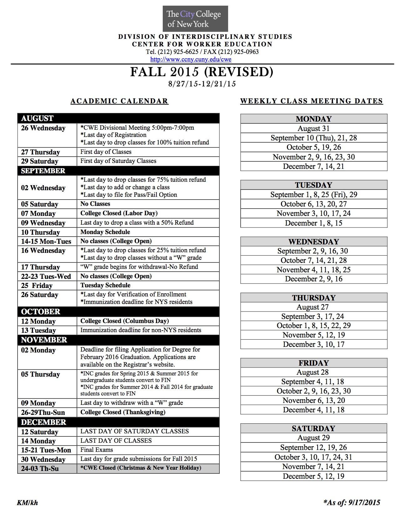 Academic Calendar | The City College Of New York Within Suffolk Community College Academic Calendar