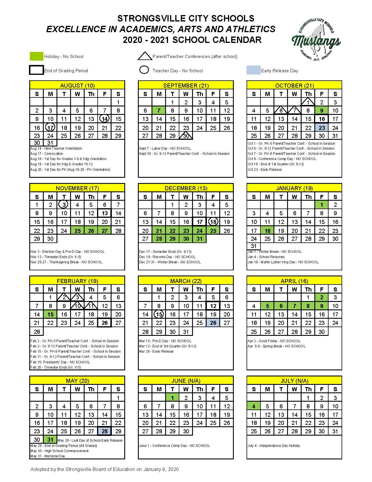 Academic Calendars / Calendar 2020 2021 Pertaining To Dare County School Calendar 2021
