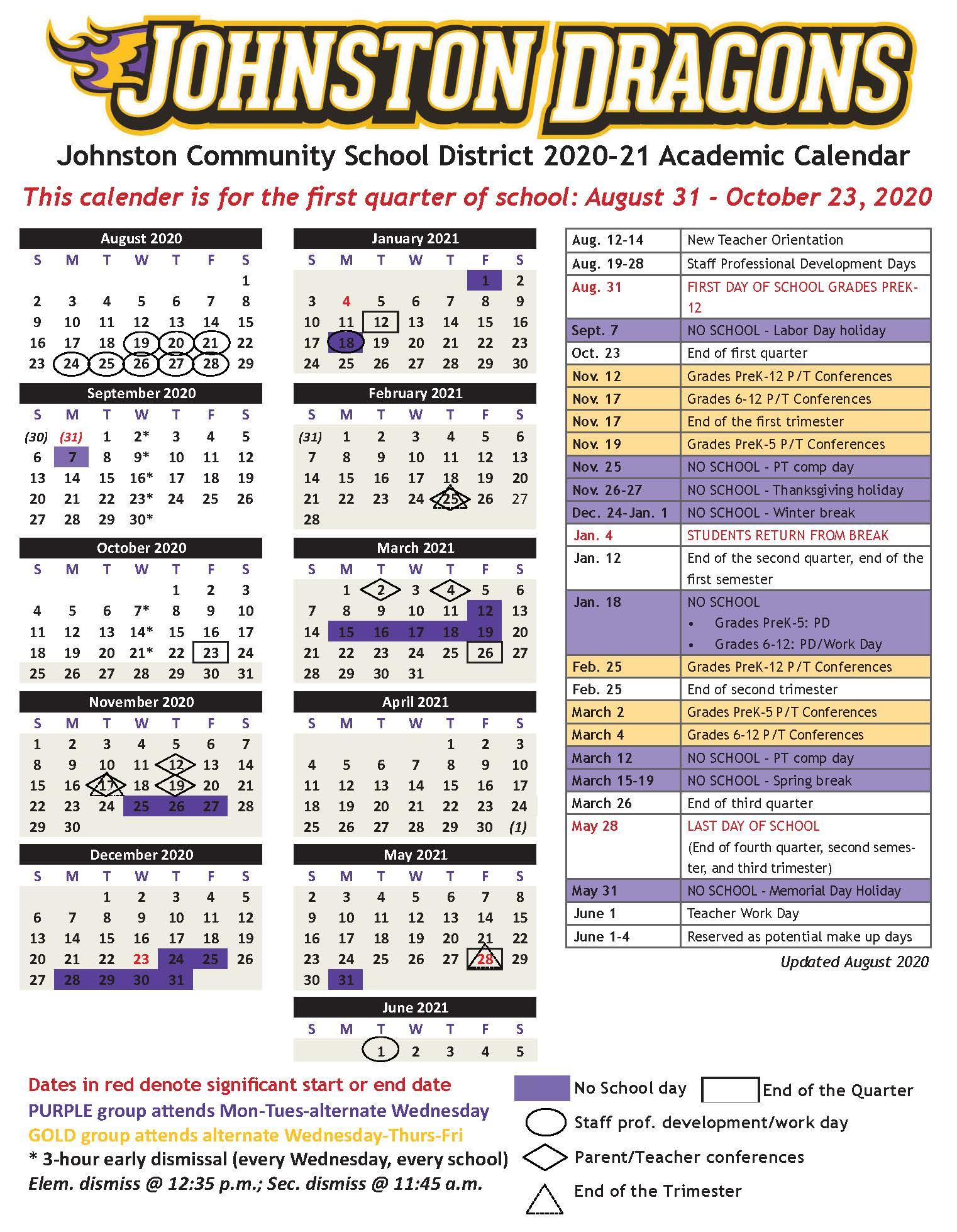 Academic Calendars - Johnston Community School District Intended For Johnston County Public Schools Nc 2021 2021 Student Calendar