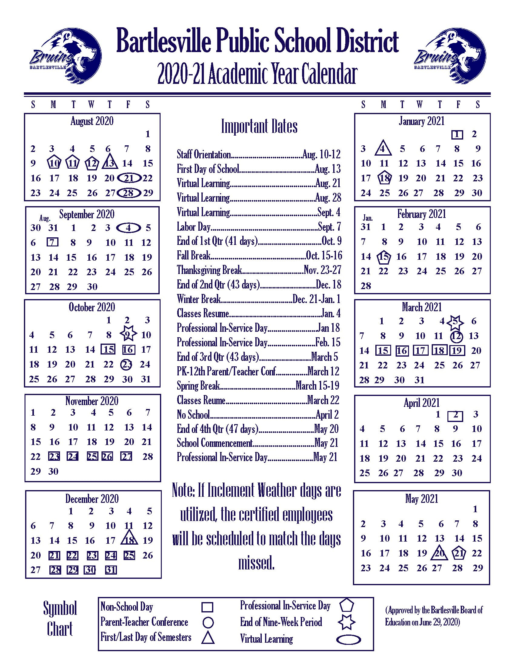 Academic Year Calendars - Bartlesville Public Schools Inside Academic Calendar 2021 Tulsa University