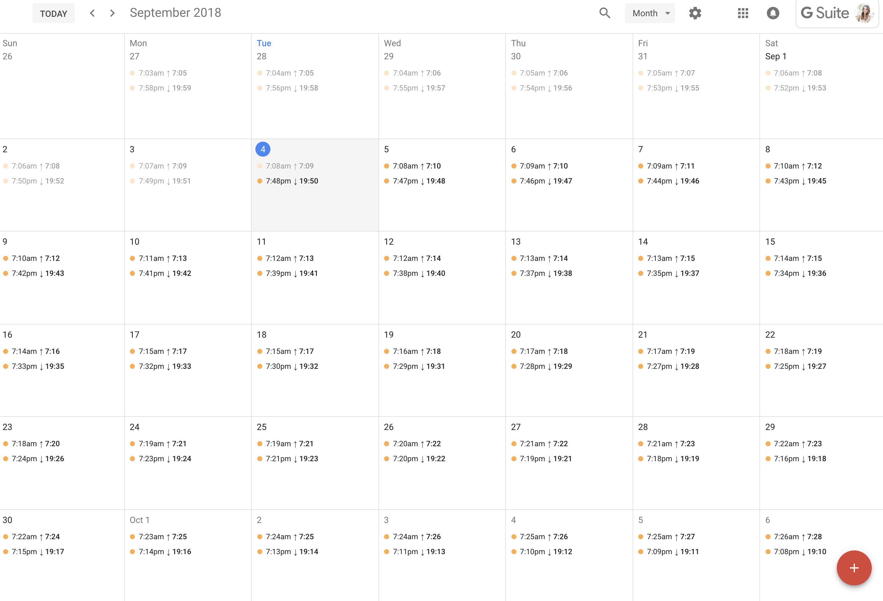 Add Sunrise And Sunset Times To Google Calendar Pertaining To Sunrise And Sunset Tables For Select Cities