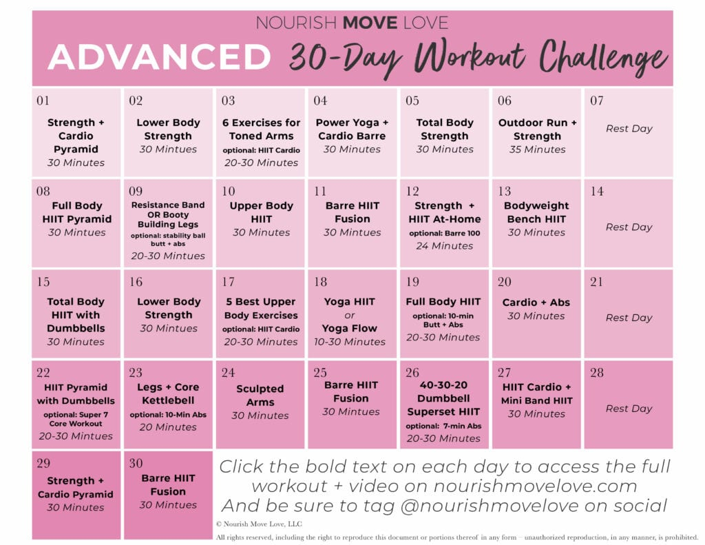 Advanced Workout Plan + 30 Day Workout Calendar | Nourish Pertaining To 30 Day Ab Challenge Schedule