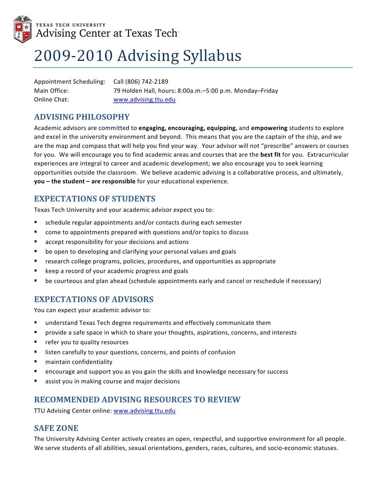 Advising Syllabustexas Tech University Advising - Issuu Throughout Texas Tech University Semester Schedule