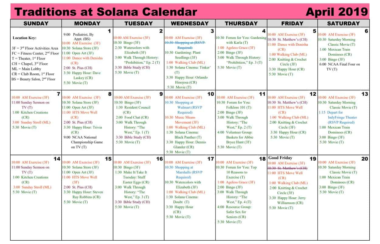 April 2019 Calendar   Traditions At Solana Within Mexican Calendar With Saint Names