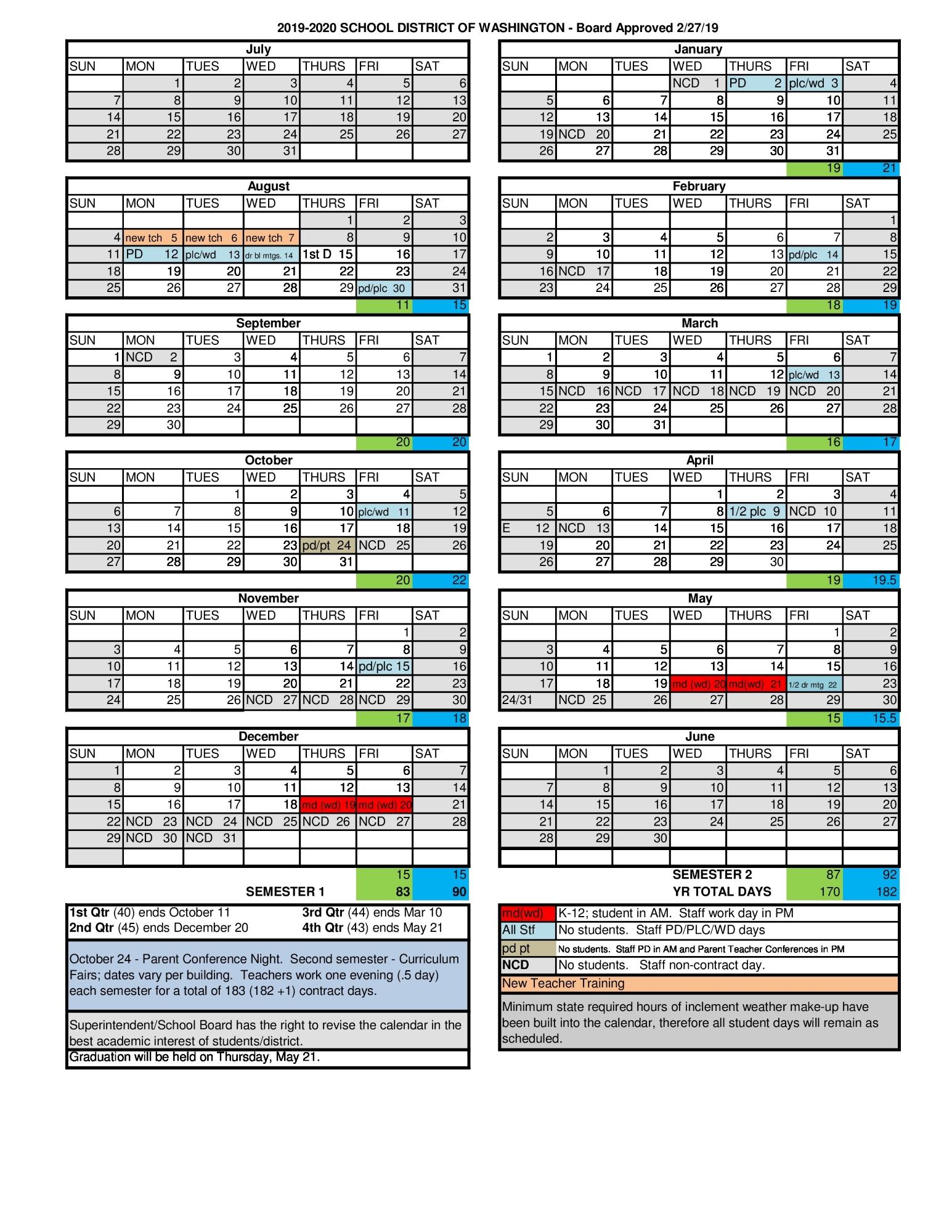 Archived News - School District Of Washington For Fort Zumwalt Academic Calendar