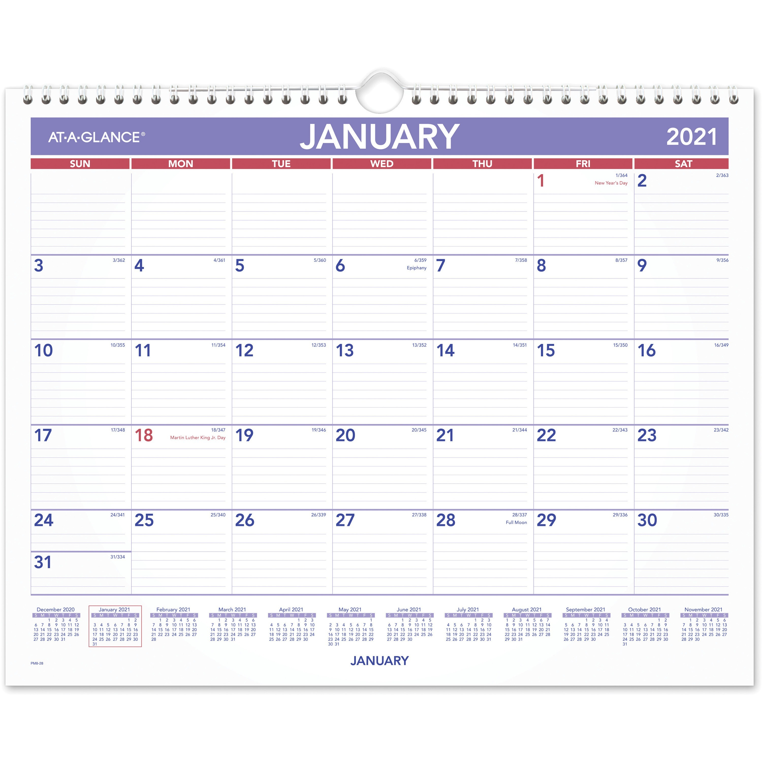 """At A Glance Monthly Wall Calendar – Julian Dates – Monthly – 1 Year –  January 2021 Till December 2021 – 1 Month Single Page Layout – 15"""" X 12""""  Sheet Inside Grand Ledge School Calendar 2021"""