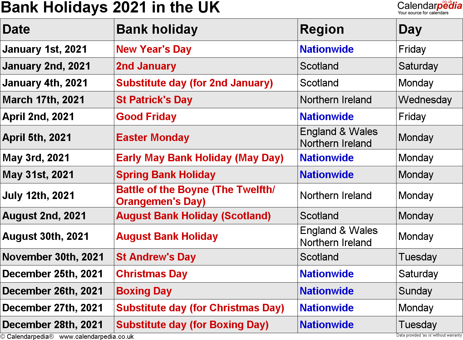 Bank Holidays 2021 In The Uk, With Printable Templates Inside University Of Glasgow Holiday Calender 2021