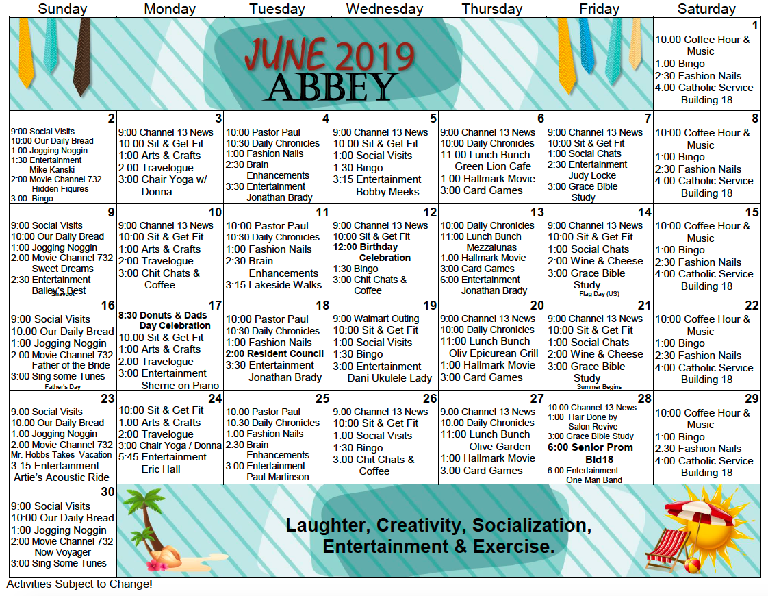 Bishop's Glen Abbey Assisted Living Activity Calendar For With Activity Calendar For Assisted Living