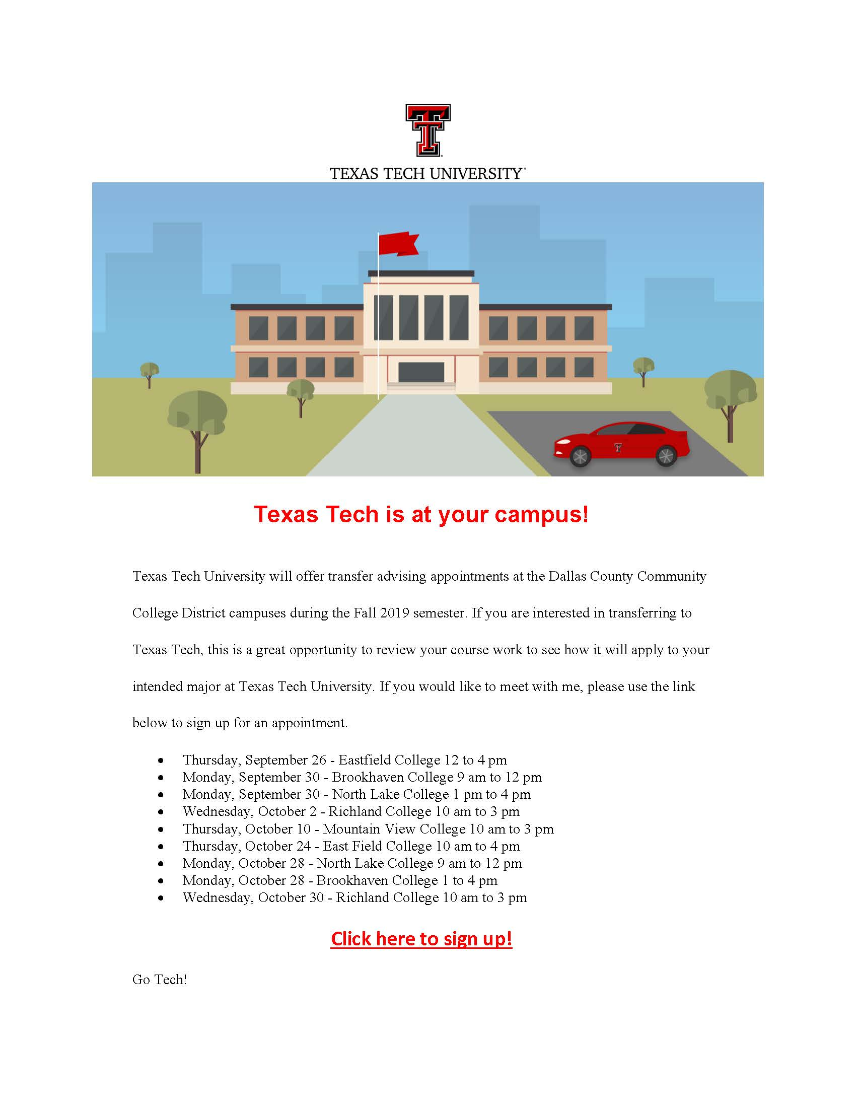 Brookhaven Campus – University Visit: Texas Tech Student Throughout Texas Tech University Semester Schedule