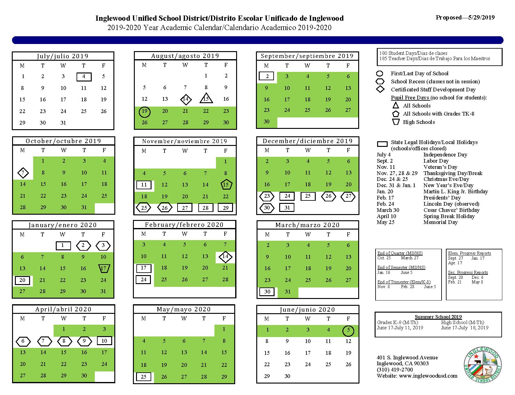 Calendar – About Us – Inglewood Unified School District within Burbank Unified School District Calendar 2021