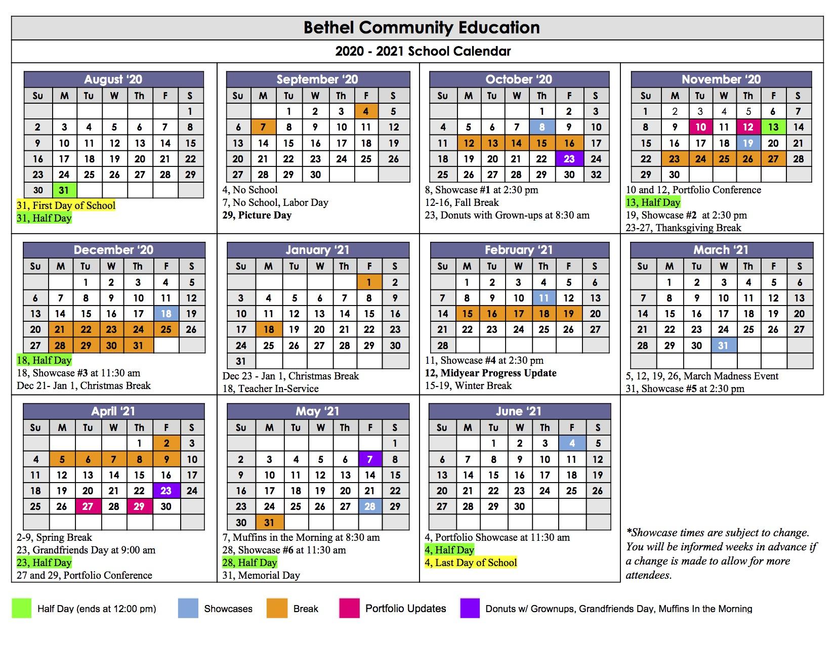 Calendar – Bethel Community Education Pertaining To Grand Ledge School Calendar 2021