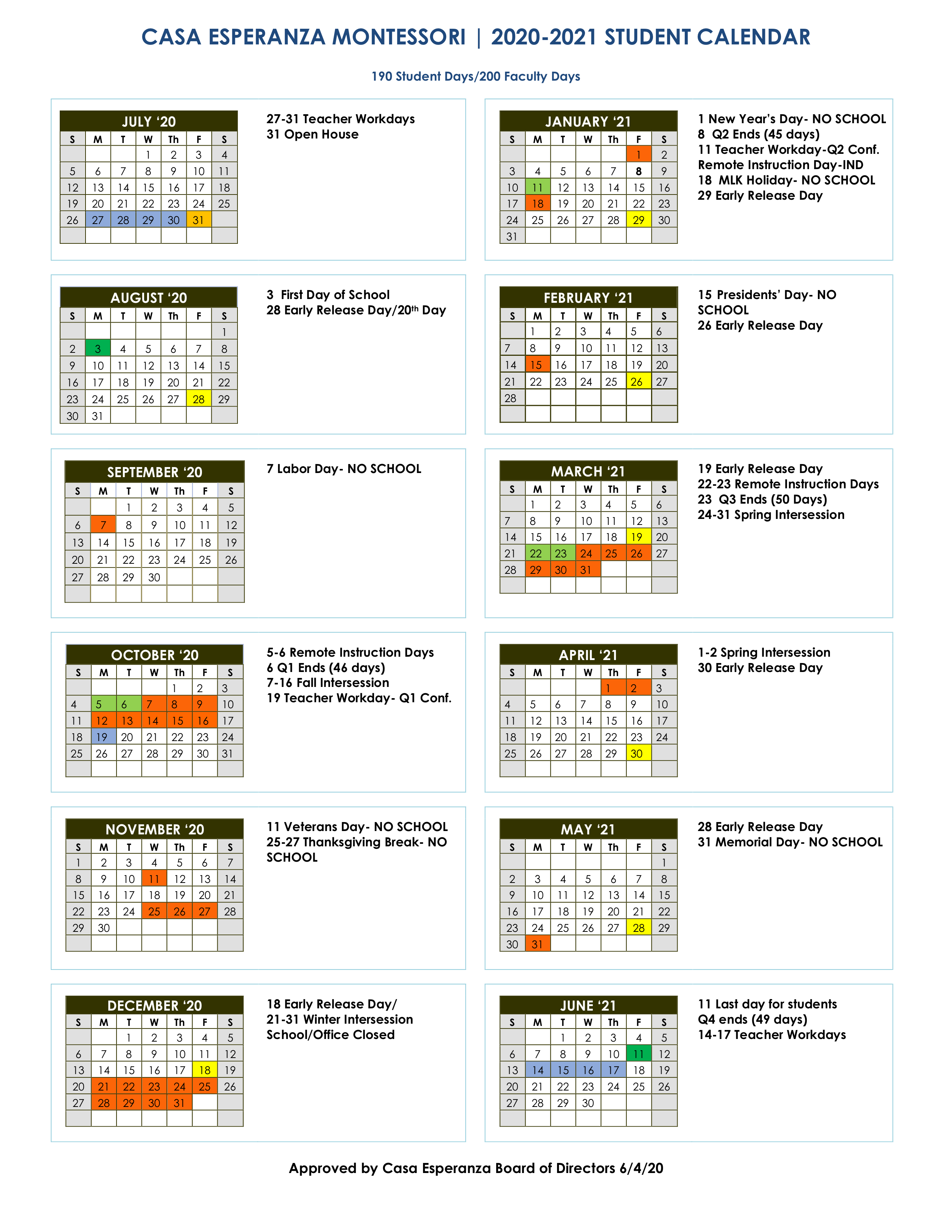 Calendar – Casa Esperanza Montessori Regarding Lenoir County 2021 2021 School Calendar