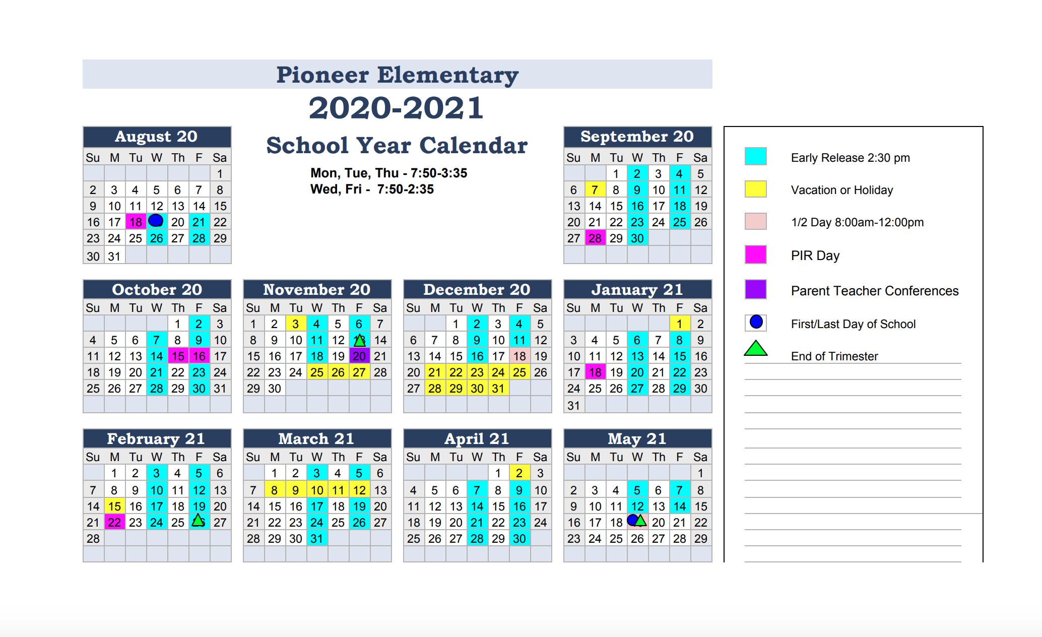 Calendar & Events - Pioneer Elementary School Throughout Billings School District 2 Calander