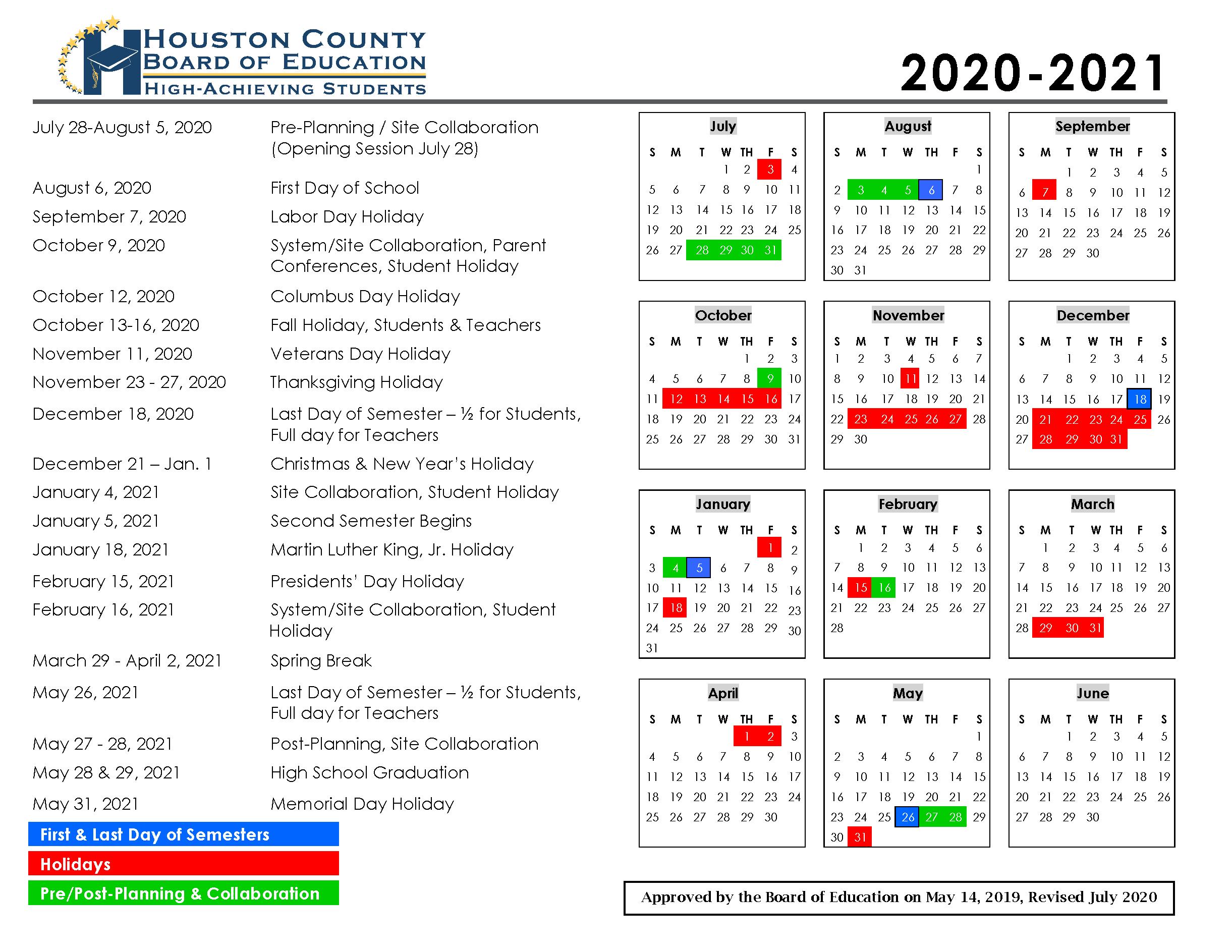 Calendar - Houston County Schools within Houston Countyboard Of Education Calendar 2021
