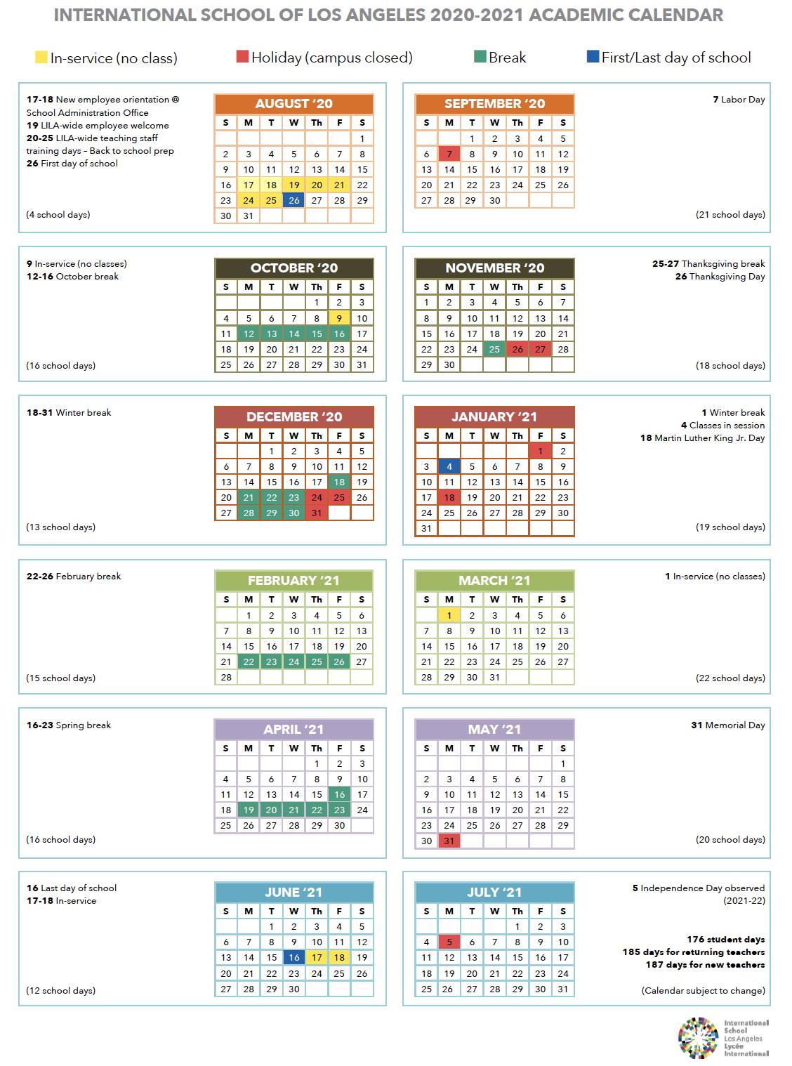 Calendar | International School Of Los Angeles Intended For Burbank Unified School District Calendar 2021