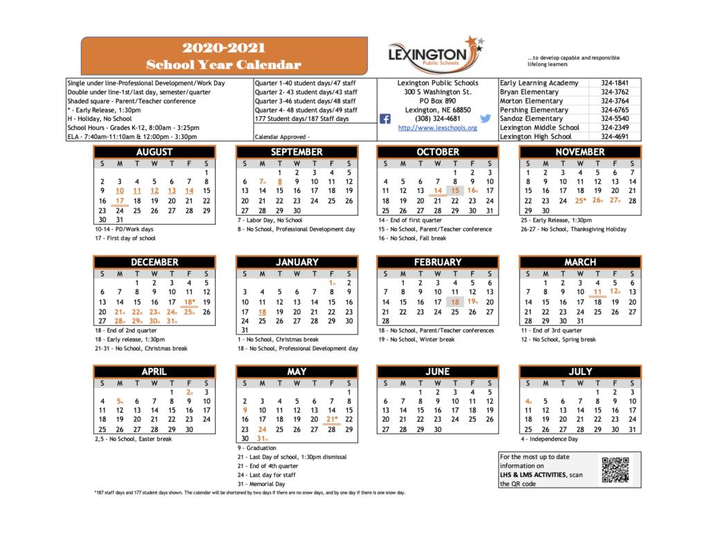 Calendar – Lexington Public Schools Throughout Lex Dist 1 Calendar