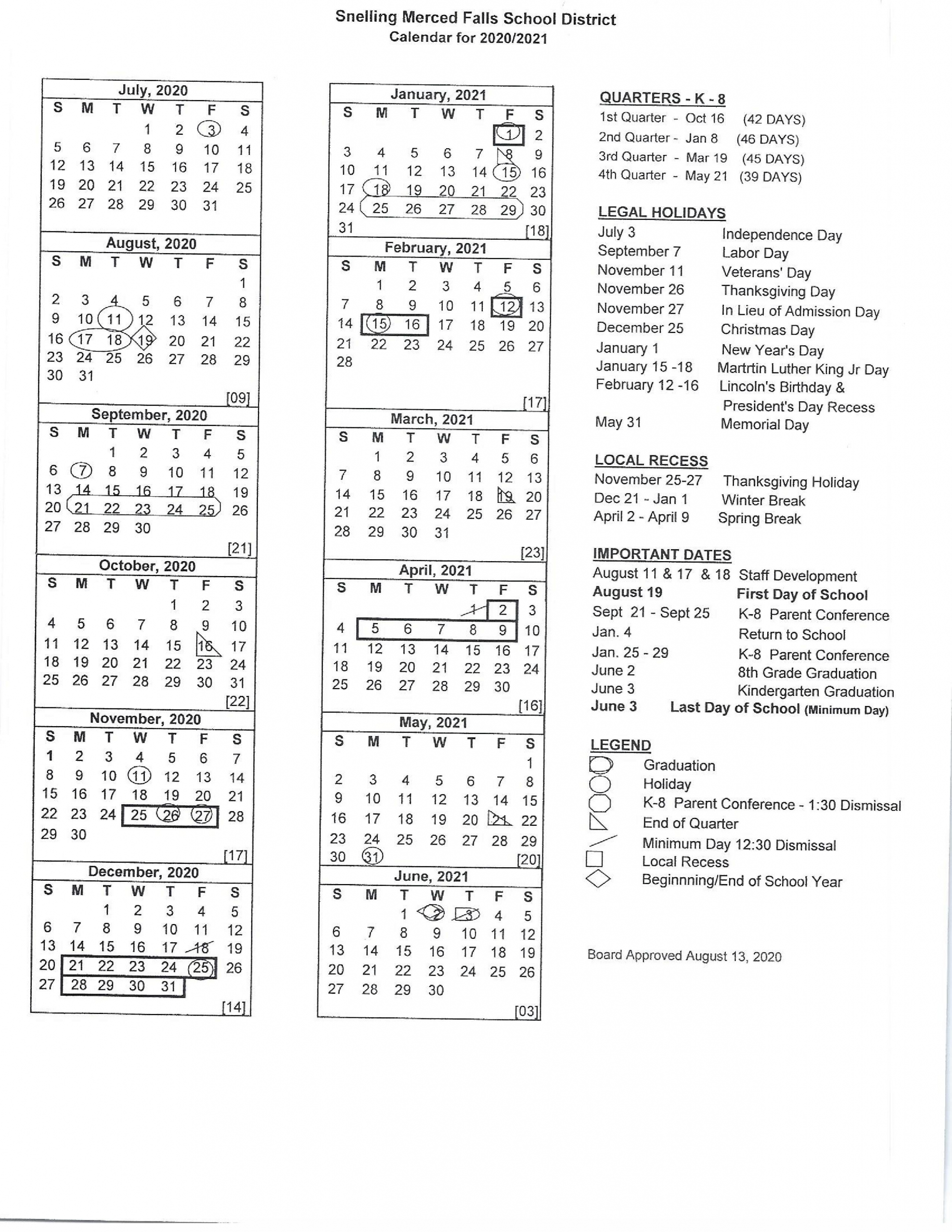 Calendar – Snelling Merced Falls Elementary With City Of Merced School District Calendar