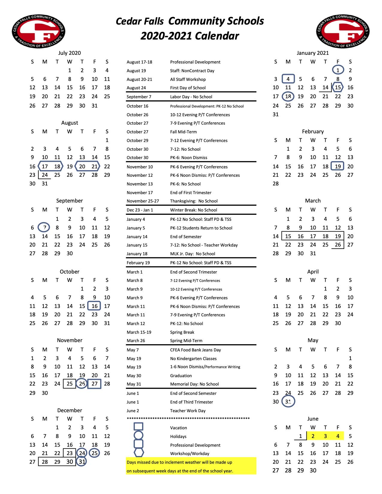 Cedar Falls Community School District In Cedar Rapids School District Calendar