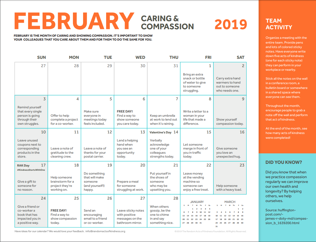 Check Out February's Themed Workplace Kindness Calendar For With Regard To Turning Stone Bingo Calendar For February 2020