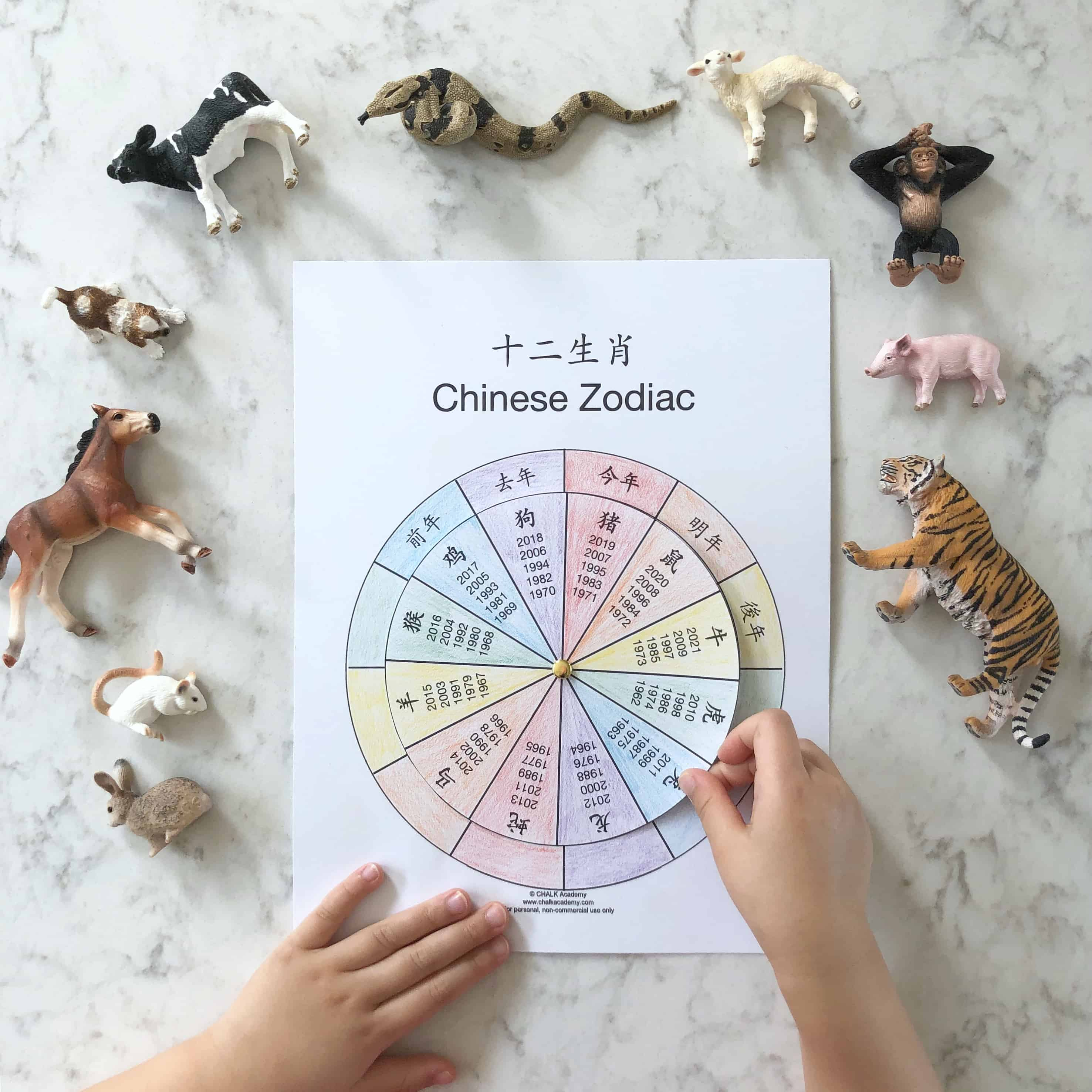 Chinese Zodiac Wheel - Free Interactive Printable In Chinese with Chinese Calendar Animals Free Printable