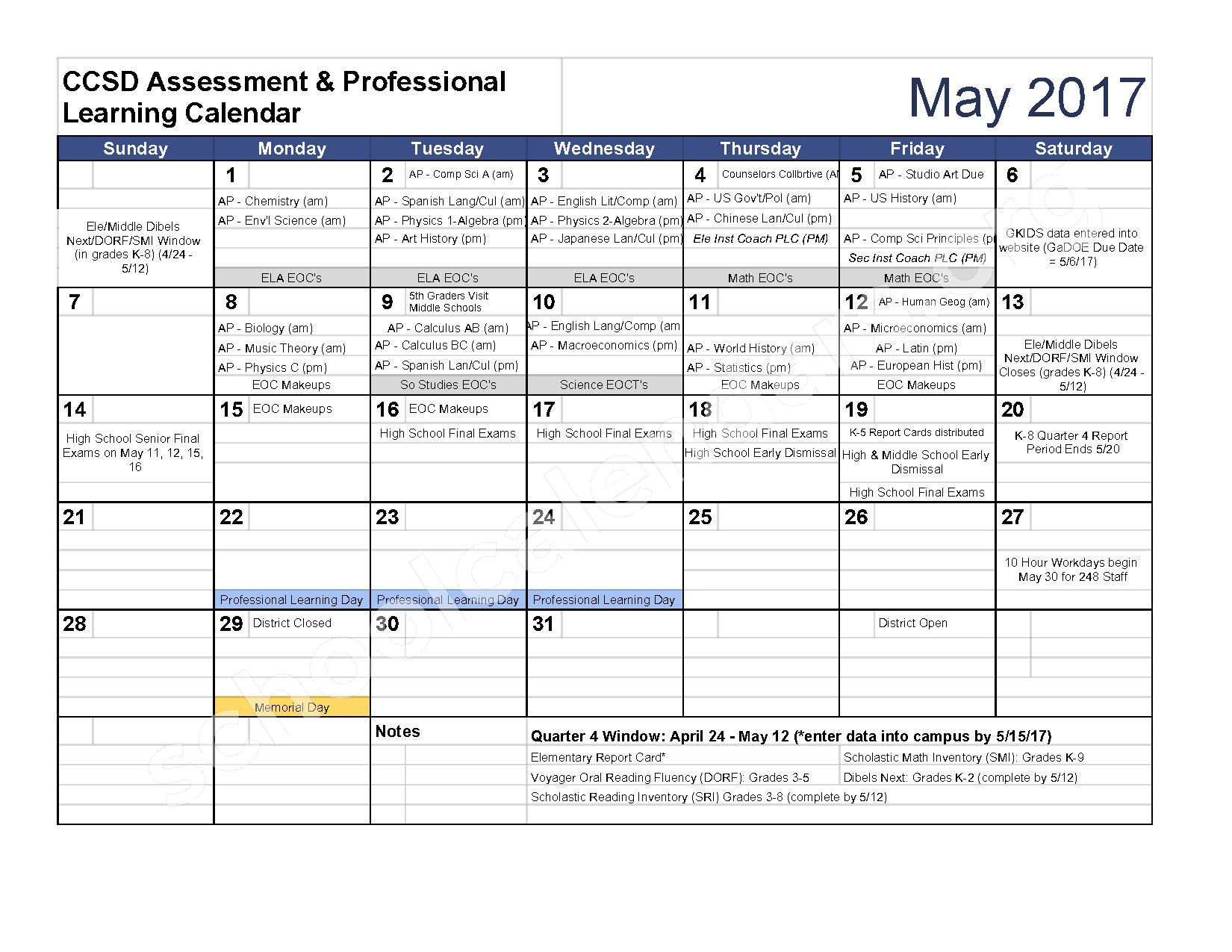 Clarke County School District Calendars – Athens, Ga Regarding Athens Clarke County School Schedule