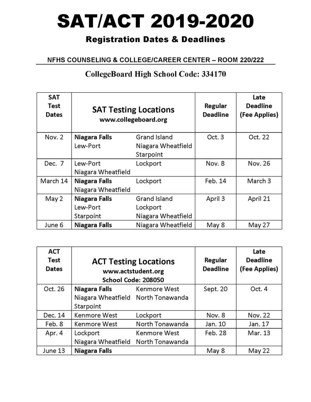 Counseling Center / Sat/act Information & Test Dates With Regard To Niagara Falls School Calendar 2021
