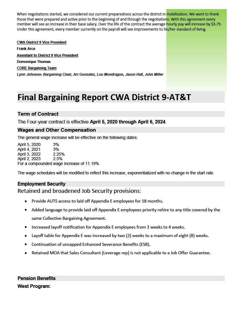 Cwa & At&t Final Bargaining Report Cwa District 9   Cwa 9003 Within Lodi Unified School District Calendar 2021 20