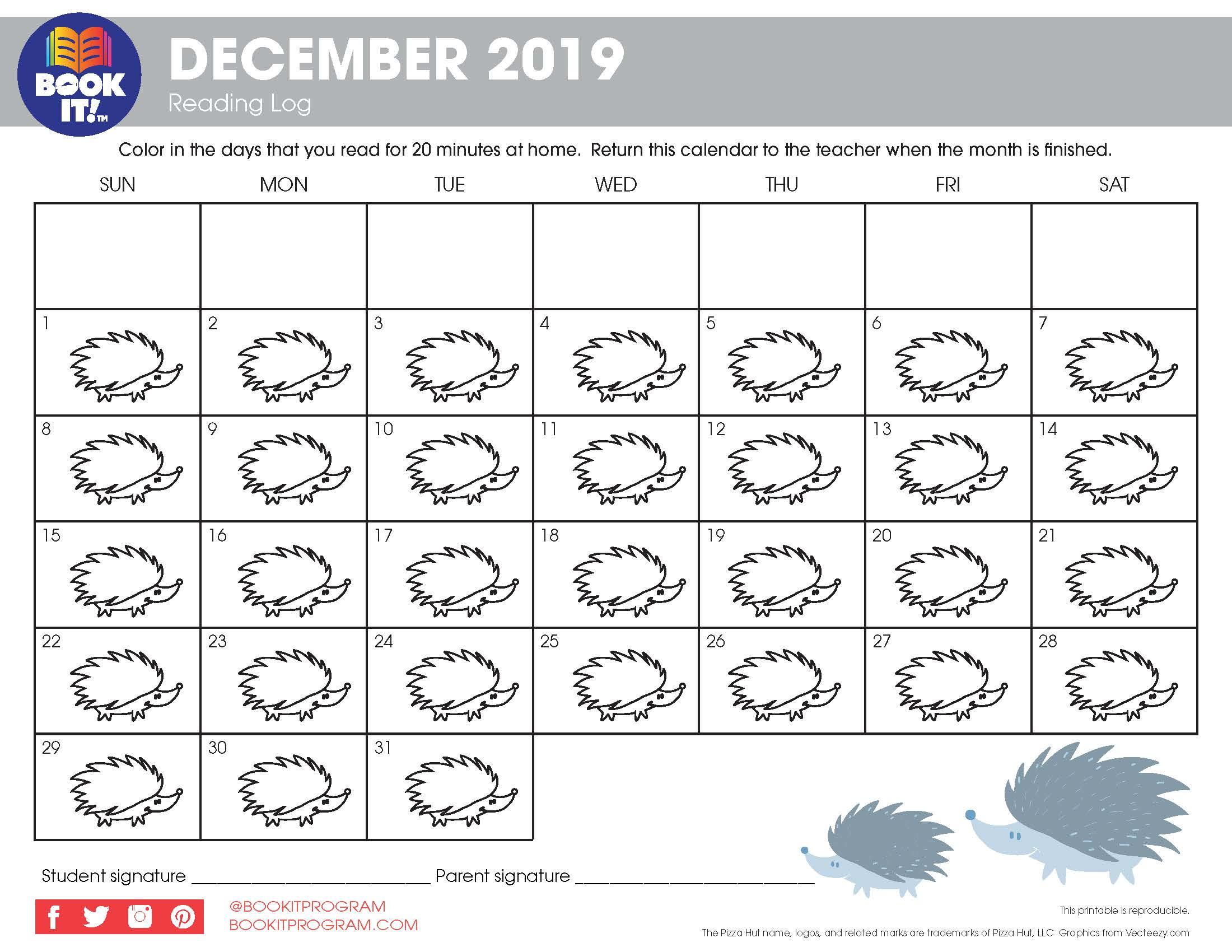 December Tracking Calendar Animal | The Pizza Hut Book It Pertaining To Pizza Hut Book It Calendar