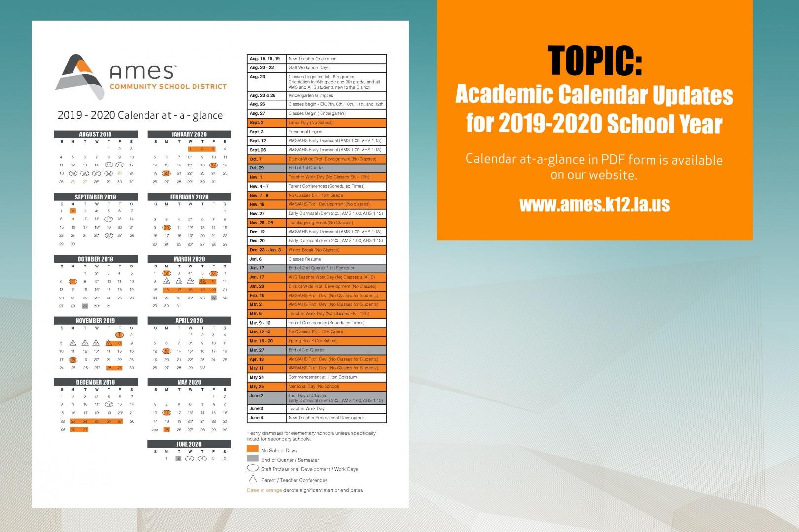 District Calendar – Ames Community School District With Des Moines Schools Calendar