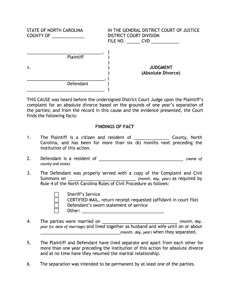 Divorce In Nc – Fill Out And Sign Printable Pdf Template | Signnow Inside Nc Court By Defendant Name