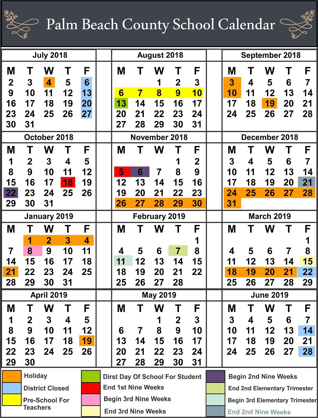 ✅Palm Beach County School Calendar regarding Printable Palm Beach County School Calendar