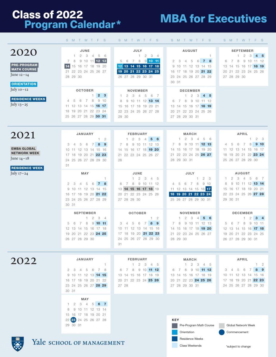 Emba Academic Calendar | Yale School Of Management Inside University Of New Haven Ct Calender