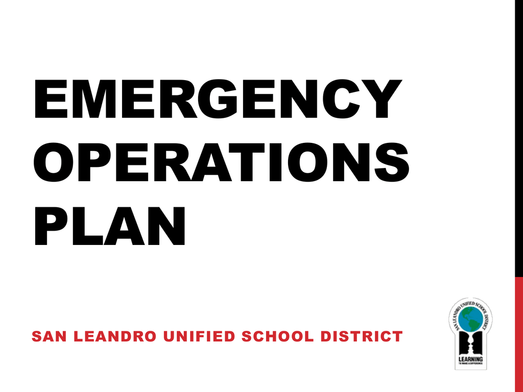 Emergency Operations Plan – San Leandro Unified School District Intended For San Leandro High School 2014 Calendar