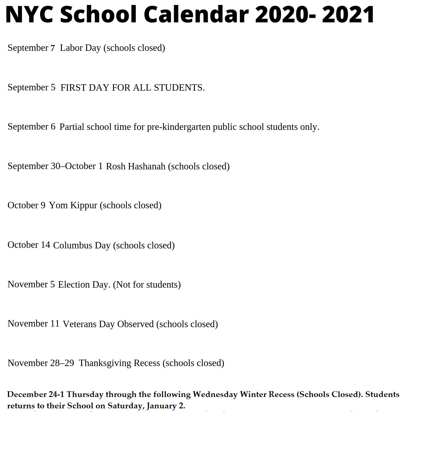🥰nyc School Holidays Calendar 2020 2021🥰 Within Nyc Dept Of Ed Calendar