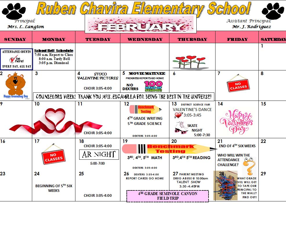 February Calendar with San Felipe Del Rio Cisd Schedule