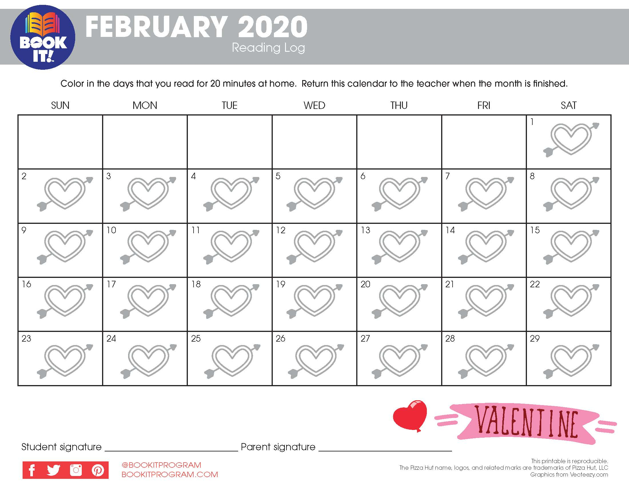 February Tracking Calendar Holiday | The Pizza Hut Book It Inside Pizza Hut Book It Calendar
