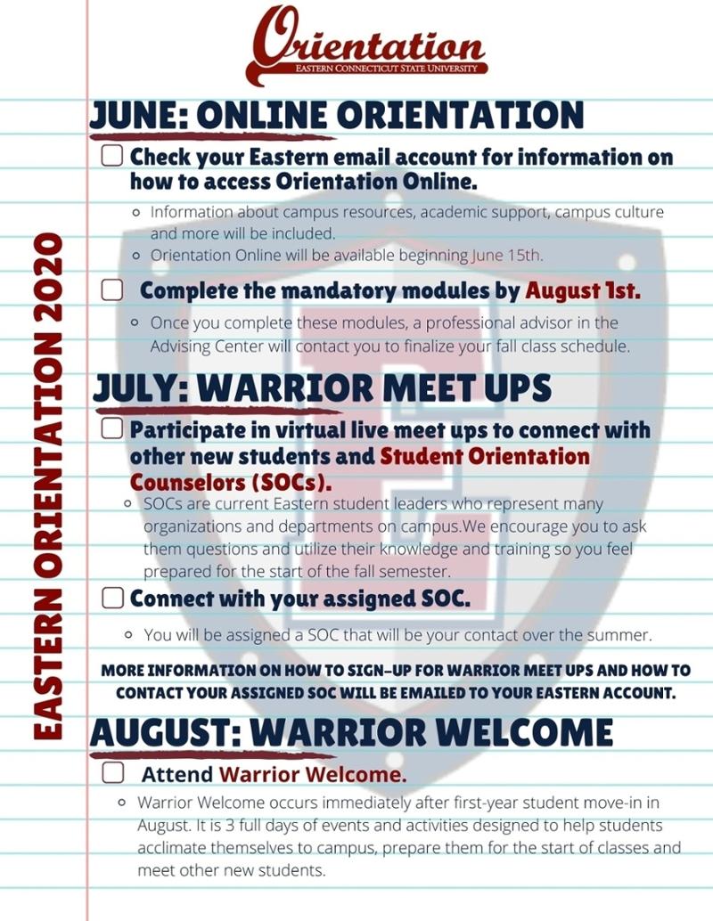 First-Year Orientation - Eastern regarding Eastern Ct State Calendar